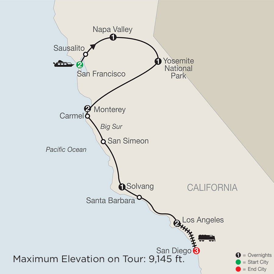 زيارة المعالم الكلاسيكية في كاليفورنيا