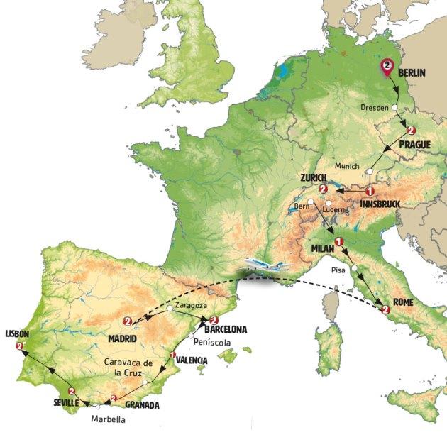 معظم دول أوروبا في رحلة واحدة
