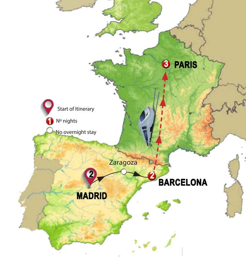 من مدريد إلى باريس