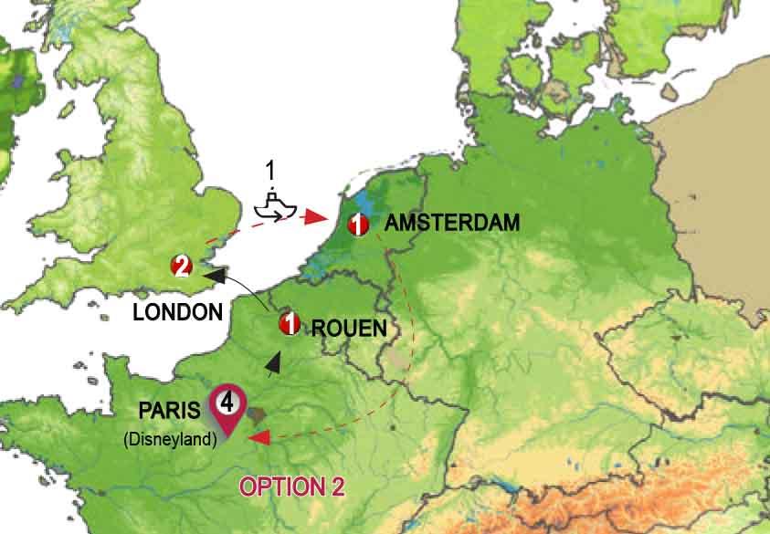 باريس ولندن وامستردام مع رحلة بحرية ( يومين ديزنى لاند )